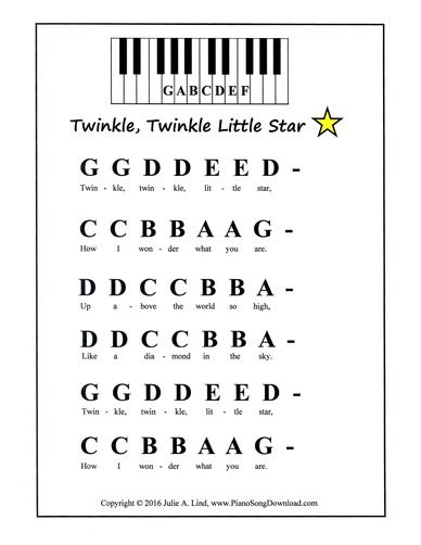 Twinkle Twinkle Little Star, easy piano music with letters and words for beginning piano lessons.