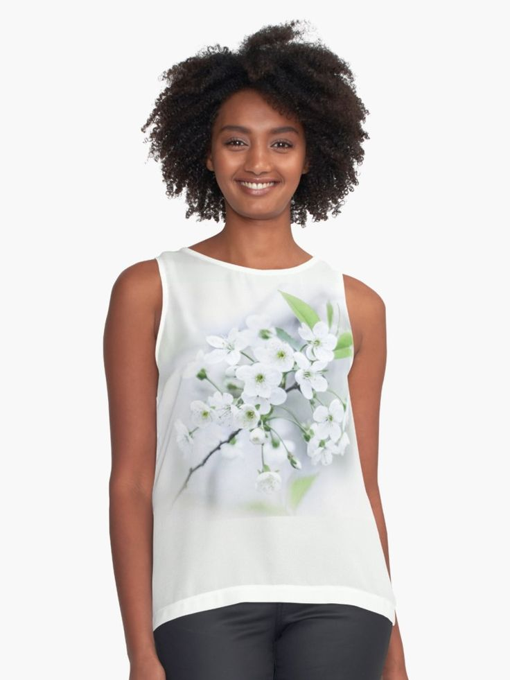 White cherry blossoms. photo, photography, artwork, buy, sale, gift ideas, redbubble, cherry, cherry blossoms, freshness, green leaves, spring flowers, spring trees, tenderness, white flowers, white petals, young, springtime, spring, woman, girl, fashion, buy, clothing, chiffon tank