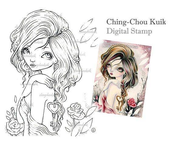 Chiave per il mio cuore digitale timbro Instant Download / chiave amore Rose San Valentino Fairy Girl di Ching-Chou Kuik