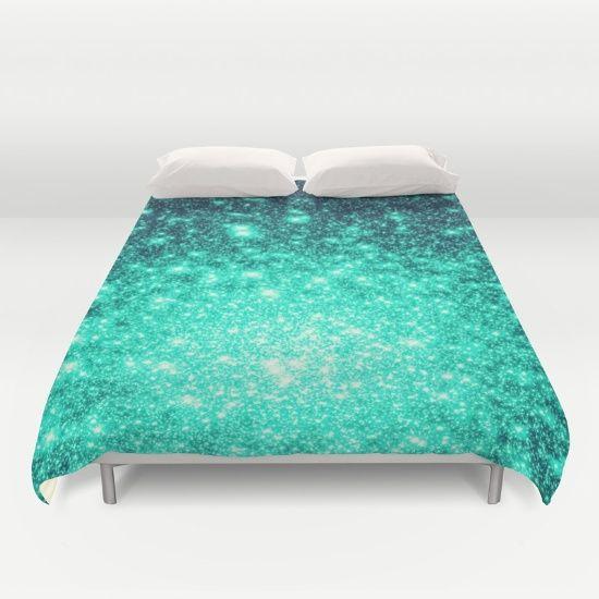 Stars Ombre Cool Aqua & Teal Duvet Cover