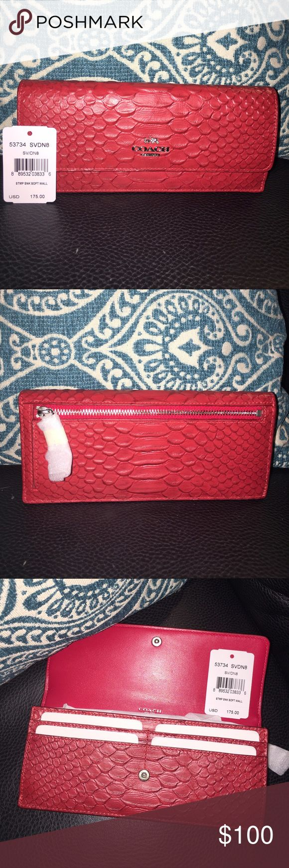 "Coach wallet New,brick red,leather Coach wallet with crocodile texture.Eight card slots,a bill compartment,and a slip compartment inside.Snap closure and large zippered coin holder on back.Gold and silver metal hardware.Measures approx 8""x4""X1"".Sassy and fun! NWT TOO Coach Bags Wallets"