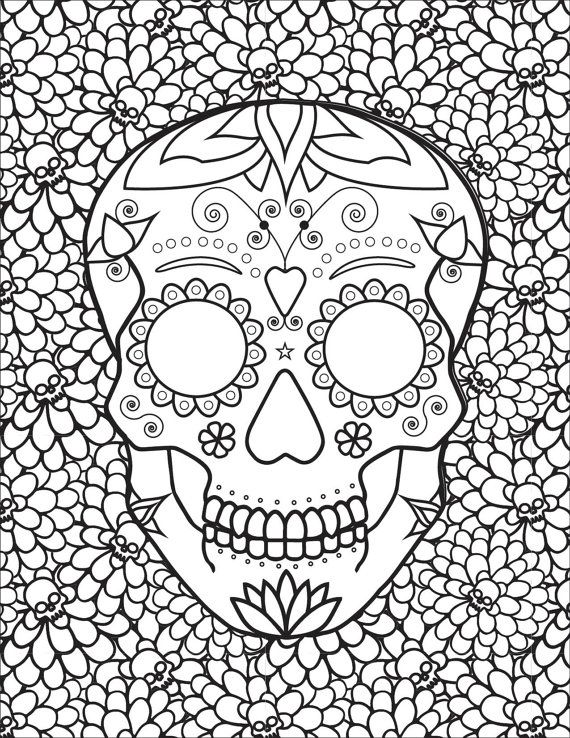 247 best Sugar Skulls + Day of the Dead Coloring Pages for Adults ...