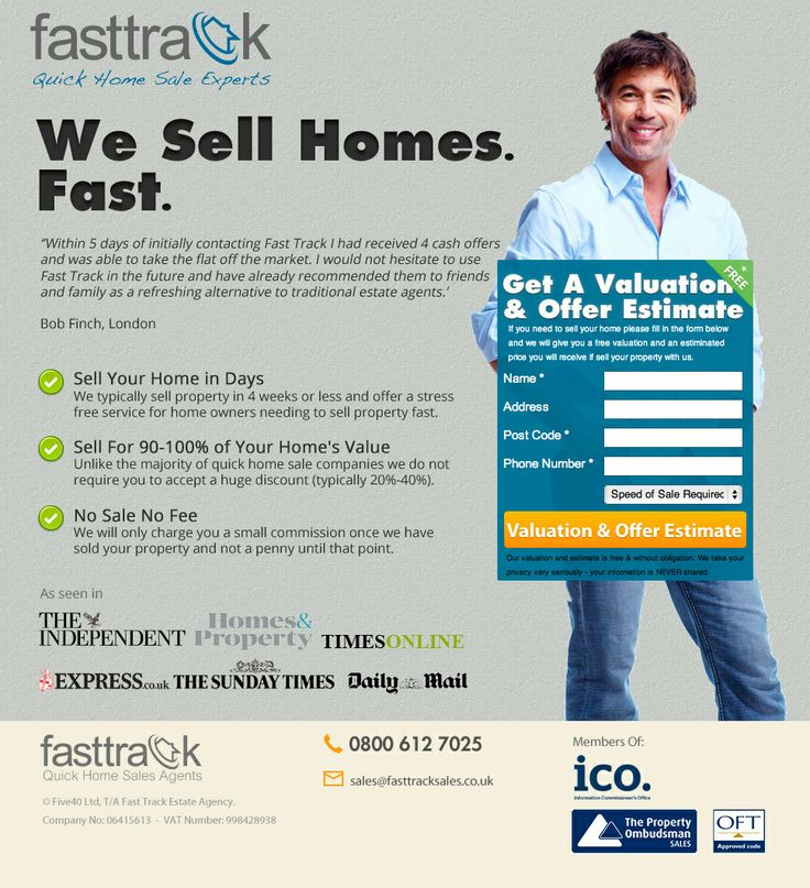 "Fasttrack Home Valuation & Offer Estimate Landing Page -- Epic fail on the photo/form placement. Implied caption: ""Click on this guy's junk."" Yikes! A value-added, relevant featured image (a home, a happy customer selling their home, etc.) would have been more appropriate to feature. A HERO shot is to show the customer what they can get/achieve. LOL. I can't even comment further."
