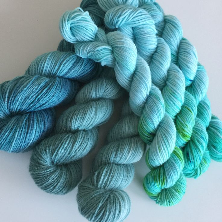 Assorted yarn in teal, green & turquoise | hand dyed yarn | Slente Yarns