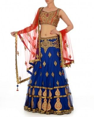 Dazzling Blue Lengha Set with Mughal Motifs  You will look like some royalty or a host of the party.