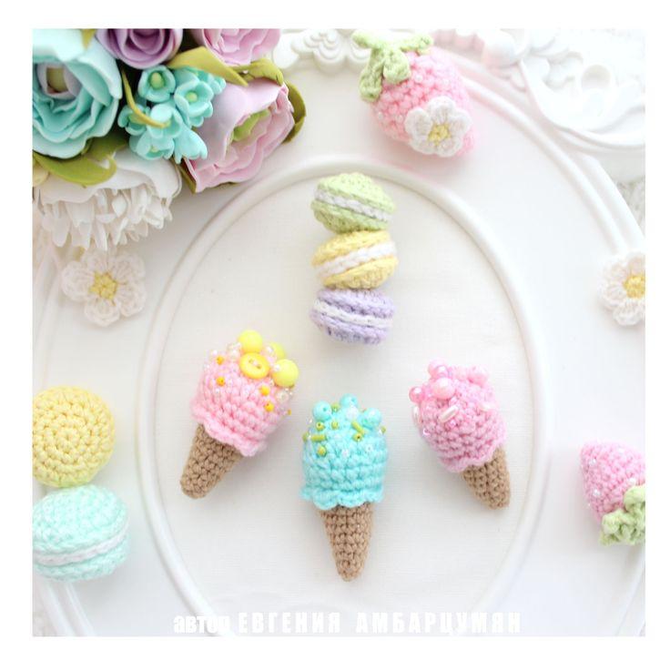 Брошка макаруны и мороженое. Brooch macarons and icecream . eva-dolls.com