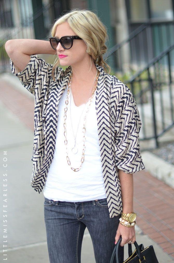 chevron kimono and jeans