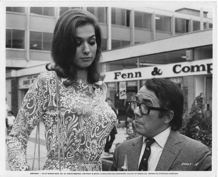 Valerie Leon and Ronnie Corbett in The Rise and Rise of Michael Rimmer. 1970