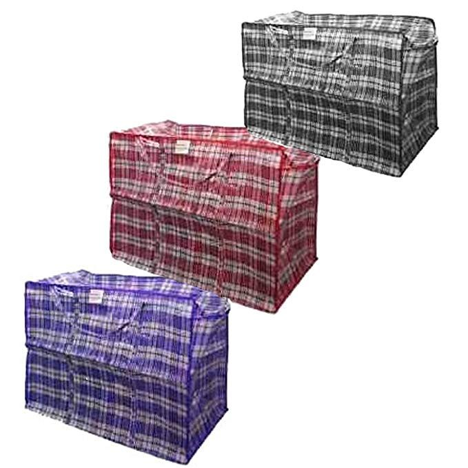 Set Of 8 Plastic Checkered Storage Laundry Shopping Bags Variety