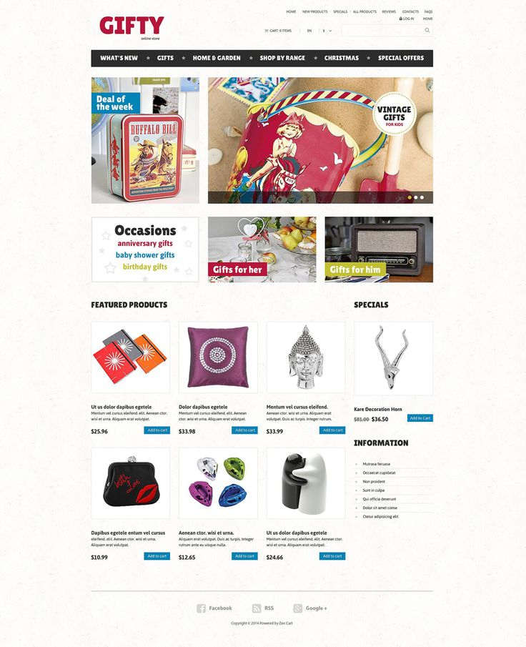 Gifts Store #ZenCart #Responsive Template via @medosadvert by @templatemonster #52463