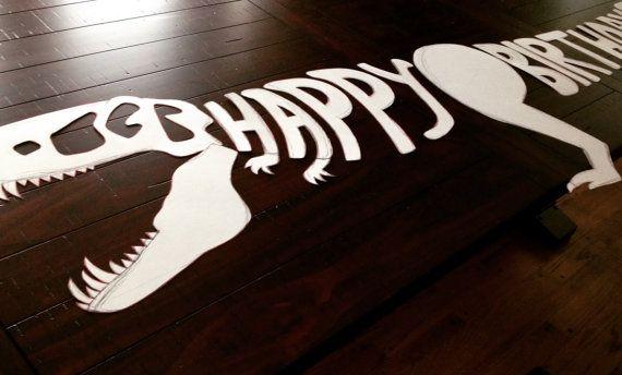 Happy birthday dinosaur banner by PartyPlanningMomma on Etsy