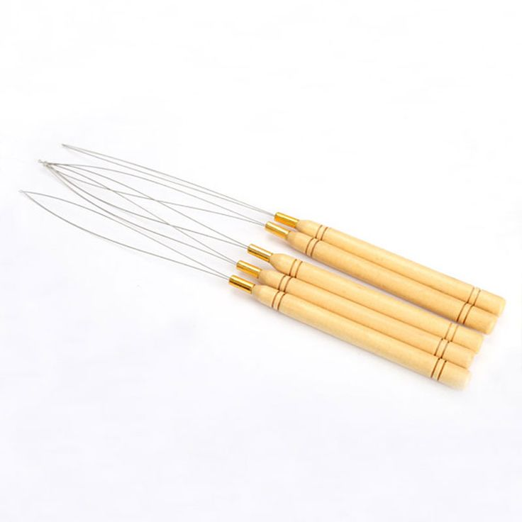 5 pcs herramienta enhebrador tirando de gancho extensión del pelo micro anillos perlas bucle mango de madera con alambre de hierro de hotting