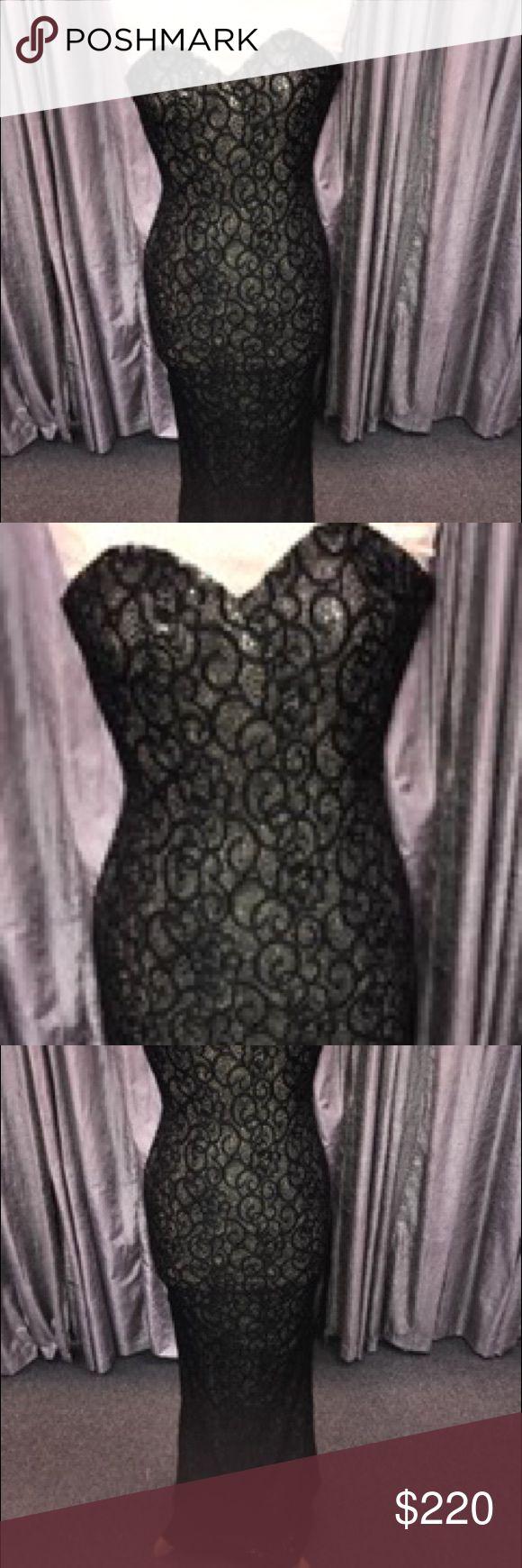 La Femme black and gold gown La Femme black lace over gold dress. Great condition. La Femme Dresses Prom