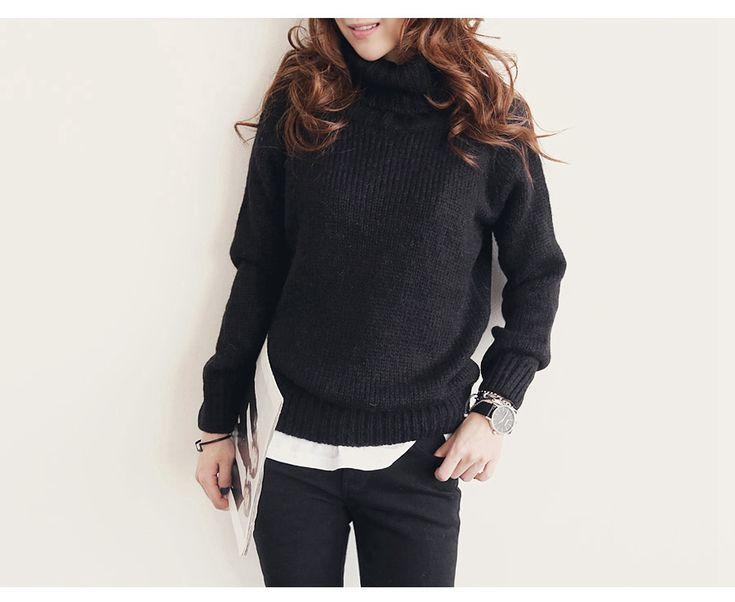 ニット・カーディガン - 秋冬新作ハイネック分厚い純色ゆったり長袖セーター