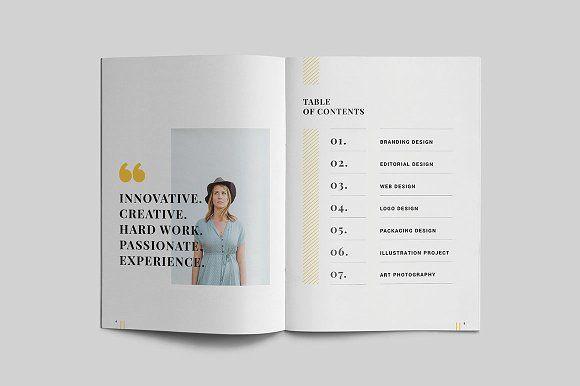 graphic design portfolio  table of contents  brochure