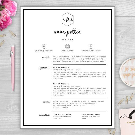 Best Monogram Resume Templates Images On   Resume