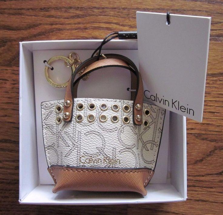 New CALVIN KLEIN Mini Purse Handbag Key Ring Chain Ivory/Tan - Gift boxed! #CalvinKlein
