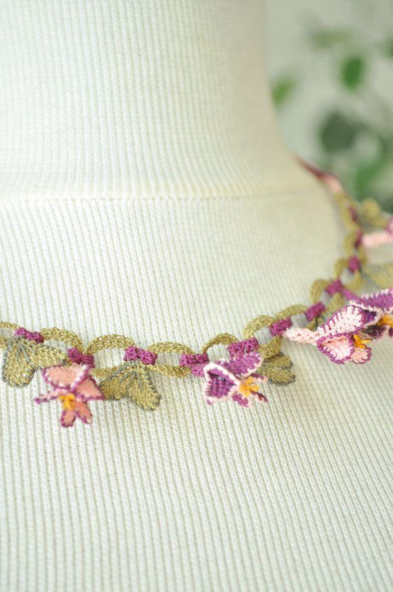 OYA Silk Needle Lace Necklace Hand made Turkish lace by OYASHOP, $49.00