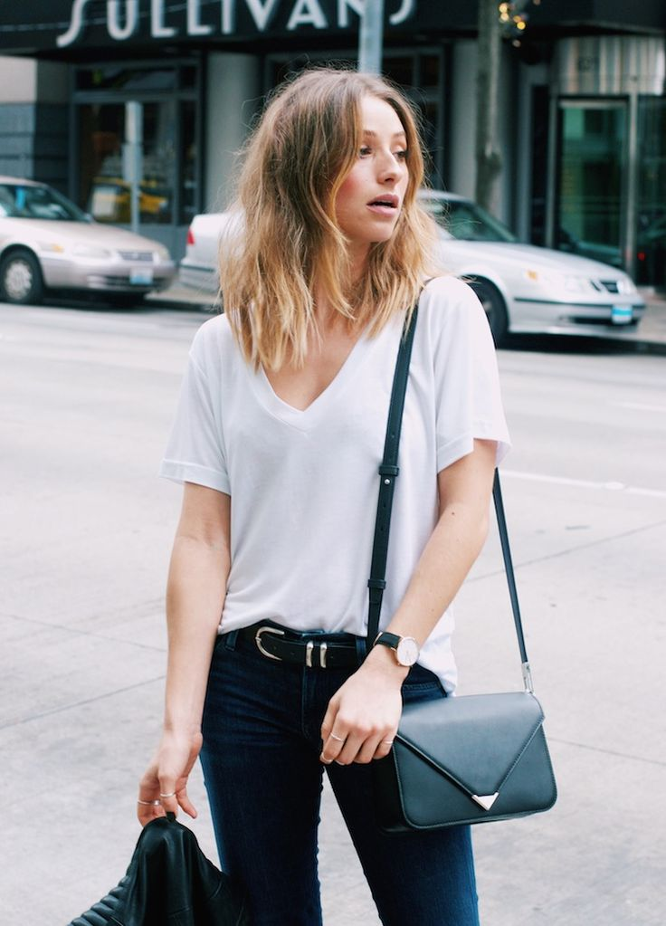 chic and effortless  european editor-inspired dinner outfit  streestyle  whitetee  jeans  pumps  prismabag  alexanderwang  ombrehair