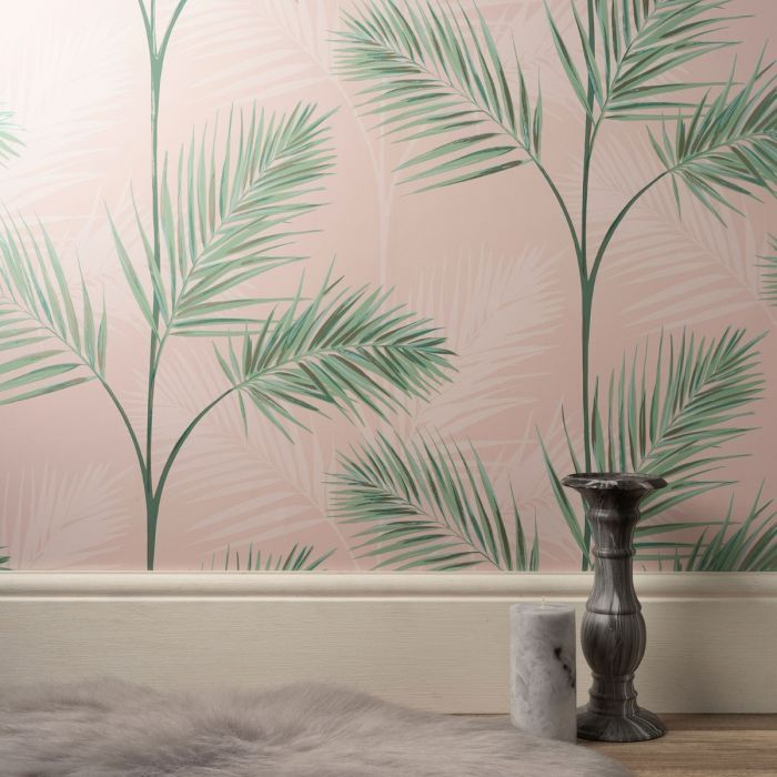 South Beach Palm Leaf Wallpaper Blush Pink Fine Decor