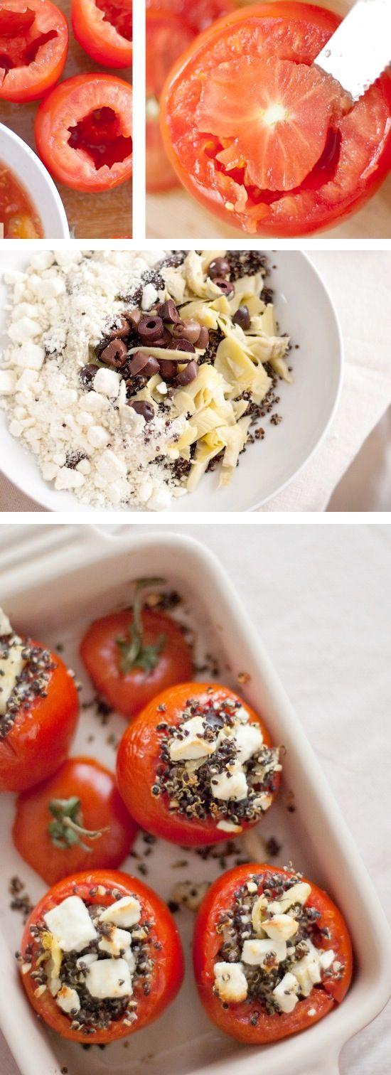 Gefüllte Tomaten mit Schafskäse, Quinoa und Oliven