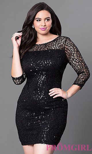 3/4 Sleeve Plus Size Sequin Semi-Formal Dress at PromGirl.com