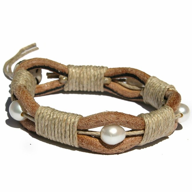Thick Leather Hemp Pearl Surfer Bracelet/Anklet