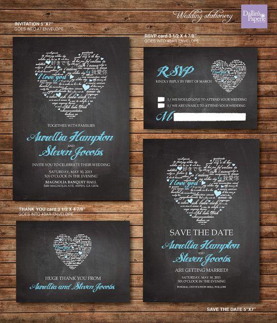 Wedding Invitation printables Chalk board Heart by DallinsPaperie