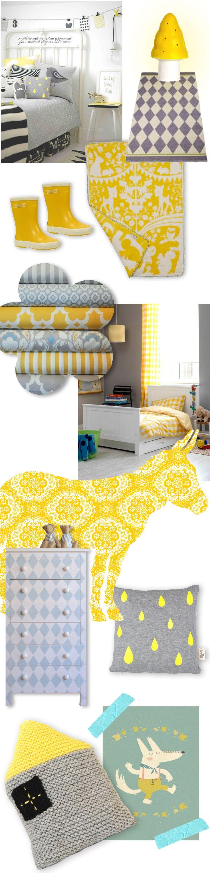 Geel en Grijs is een prachtige combinatie in de kinderkamer. Helemaal met ons prachtige gele Fairytale Forest wiegdekentje van Fabulous Goose !