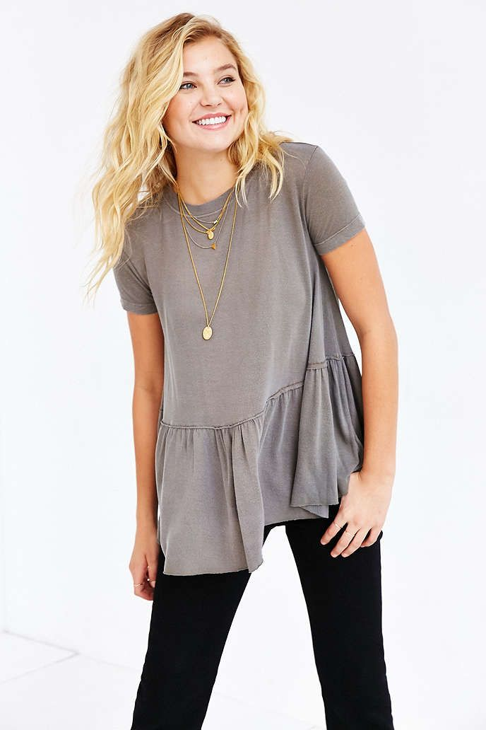 Truly Madly Deeply Dusty Road Peplum Tee - Urban Outfitters- $40 olive and white