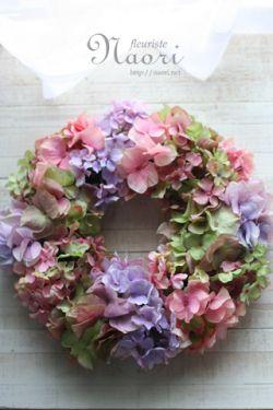 Silk flower wreath mix of antique hydrangea