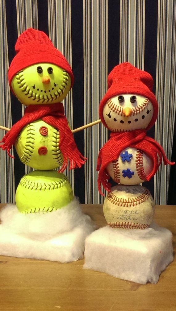 Softball Snowman / Baseball Snowman by 360Softball on Etsy