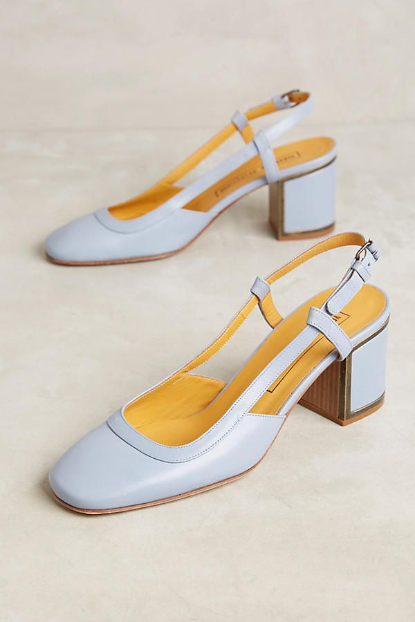 Slide View: 1: Veronique Branquinho Leather Slingback Block Heels