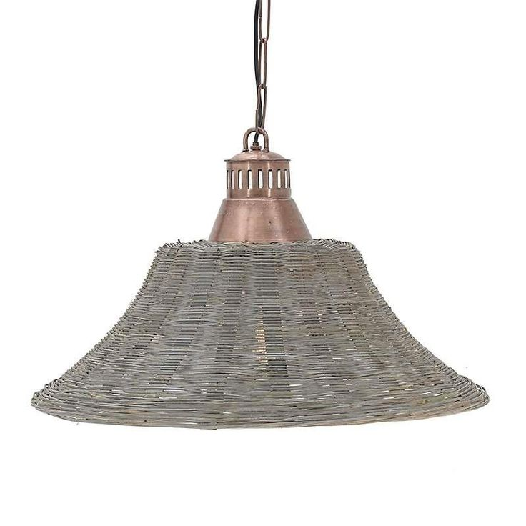 Ceiling Light Mono Lined Wicker Wool #homerecipegr