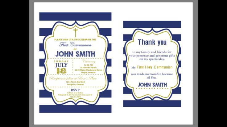 A personal favorite from my Etsy shop https://www.etsy.com/ca/listing/544303571/communion-invitation-thank-you-card