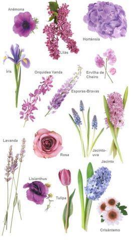 Flores Roxas e Lilás...  Para o buquê ou decoração, assim fica mais fácil acertar! www.facebook.com/blacktienoivas