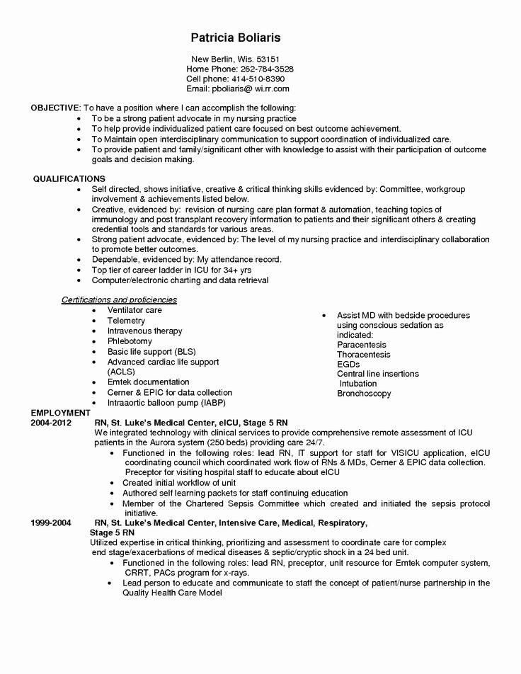 Critical Care Rn Resume Unique Quality Critical Care Nurse
