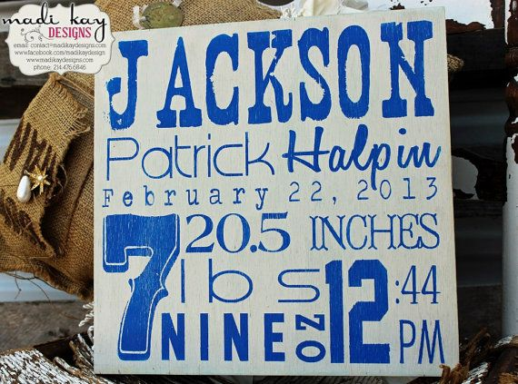 Personalized Special Dates Wood Sign Nursery by MadiKayDesigns, $49.99