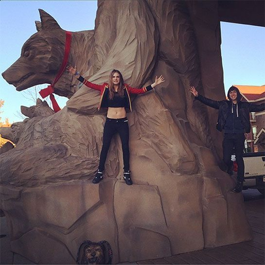 Paper Towns Trailer Premieres & We've Got The Cutest Instas From The Set #refinery29 http://www.refinery29.com/2015/03/84105/paper-towns-trailer-premieres-cara-delevingne-instagram#slide-16 Cara and Nat defy gravity at the Great Wolf Lodge.
