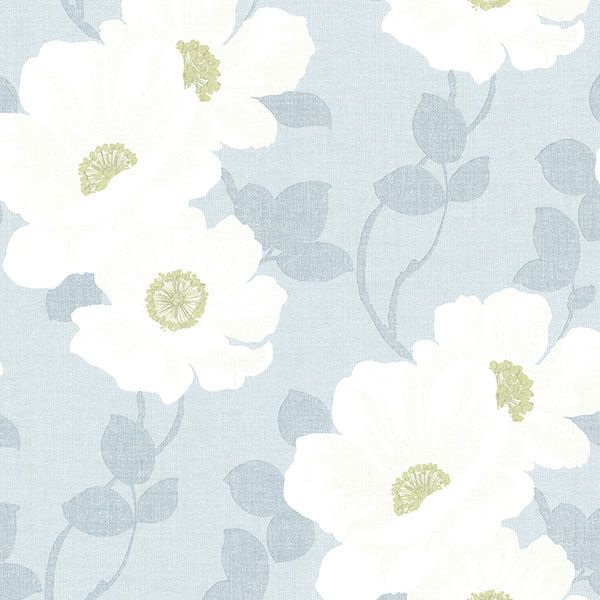 2614-21050 Light Blue Modern Floral - Leala - Beacon House Home Wallpaper by Beacon House
