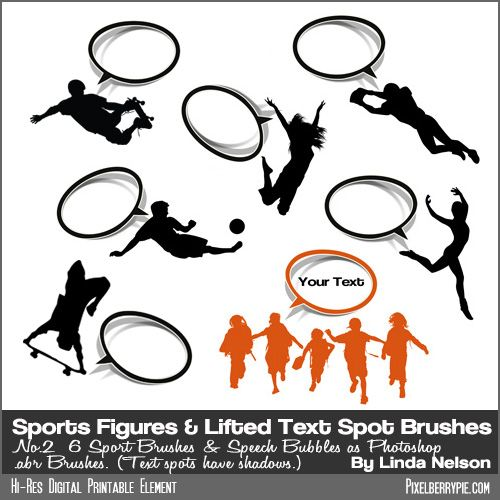 """Sports Figures No. 2"""" Photoshop Vector Brushes and Stamps with Sticker Bubbles {Sports Figure Brushes with Lifted Text Spots}"""