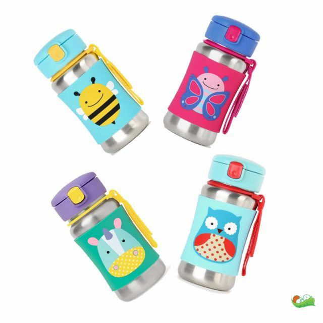 Perfect for kids on the go, our stainless steel bottle features a no-slip silicone sleeve to protect little hands from cold surfaces, along with a grab-me strap and a pop-up lid to keep the straw clean. • https://tinytotsbabystore.com/product/skip-hop-zoo-stainless-steel-bottle/?utm_content=buffer753df&utm_medium=social&utm_source=pinterest.com&utm_campaign=buffer #Bee #Butterfly #Giraffe #Lady Bug #Owl #Unicorn