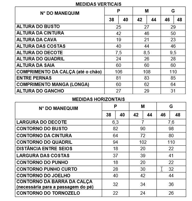 Observações : TABELA DE MEDIDA PARA MALHA Tabela para pessoas de 1.65 a 1.70 m.  Tabela segue orientações de tamanho da ABNT NBR 13377/1995 ...