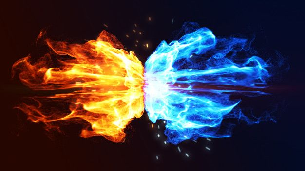 Fire And Ice Concept With Spark 3d