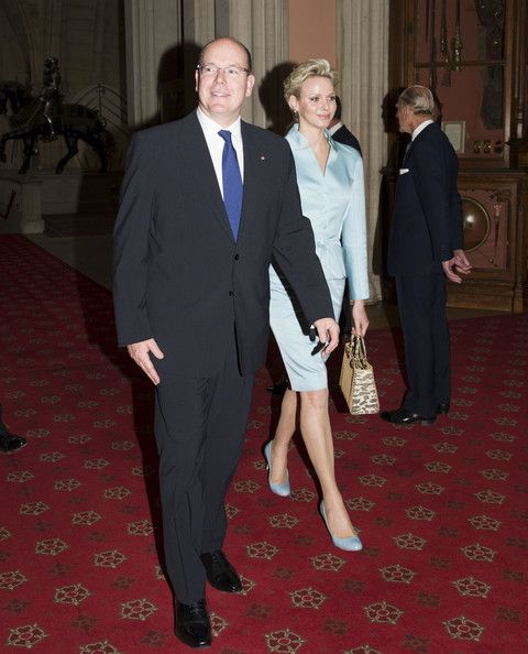 Princess Charlene of Monaco and Prince Albert II of Monaco as they arrive at a lunch for Sovereign Monarch's held in honour of Queen Elizabeth II's Diamond Jubilee, at Windsor Castle, on May 18, 2012 in Windsor, England.