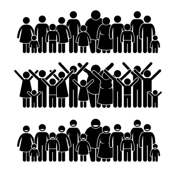 Group Of People Standing Community Nation Public Society Neighbor Neighborhood Young Old Together Crowd Human Family Download Png Svg Vector Pictogram Stick Figures Silhouette People