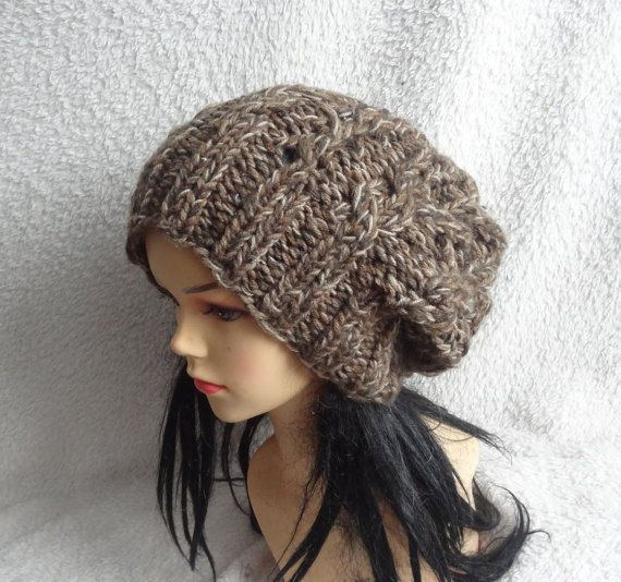 Handmade Knit Cable Hat Beanie Slouchy Hat 1 Beanie by Ifonka