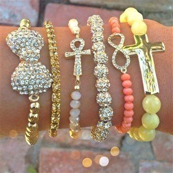 Pastel And Gold Arm Candy Bracelet