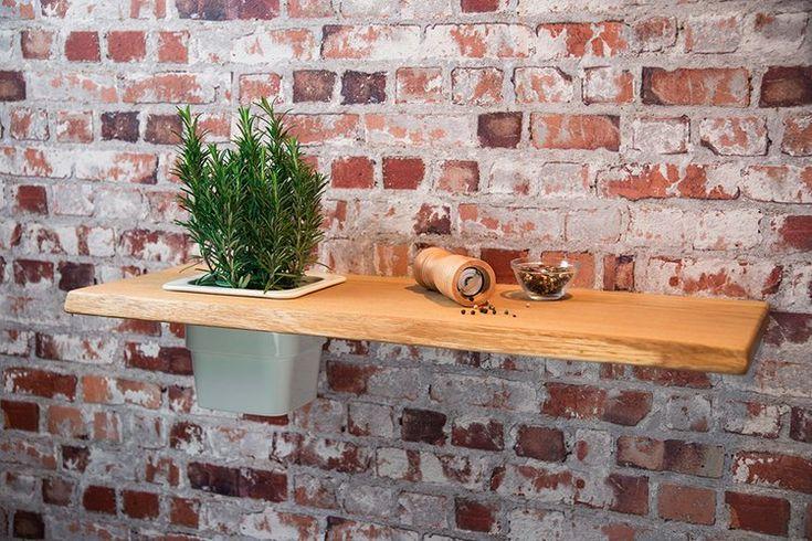 Pflanzregal Nr5 Eiche Massivholz 75 cm  Wandregal Regal Blumenregal mit Einsatz aus Porzellan #heimgruen
