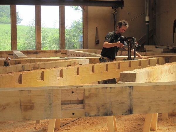Castle ring oak frame work shop cutting floor joists for Timber frame floor